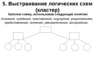5. Выстраивание логических схем (кластер) Заполни схему, использовав следующи