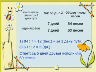 1) 84 : 7 = 12 (пес.) – за 1 день пути. 2) 60 : 12 = 5 (дн.) Ответ: за 5 дней