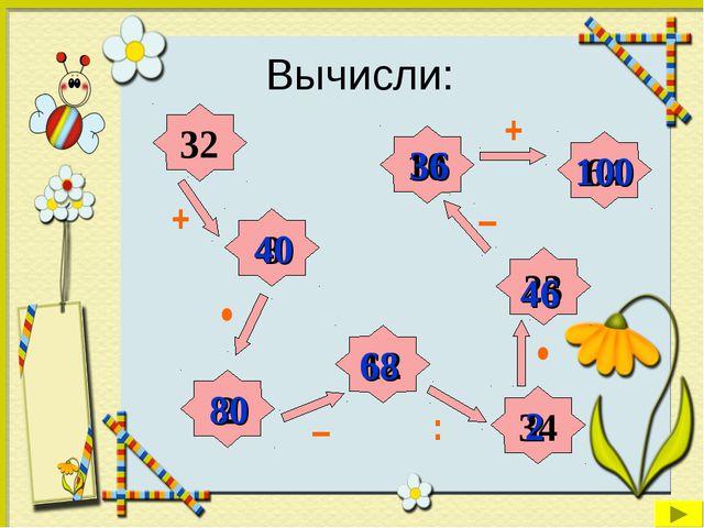 Вычисли: 32 8 34 2 10 12 23 64 + + • : – – 40 80 68 2 46 36 • 100