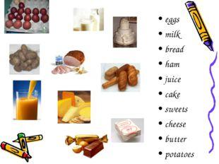 eggs milk bread ham juice cake sweets cheese butter potatoes
