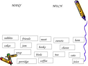MUCH MANY meat juice cats tea birds cheese books rabbits ham sweets coffee fr