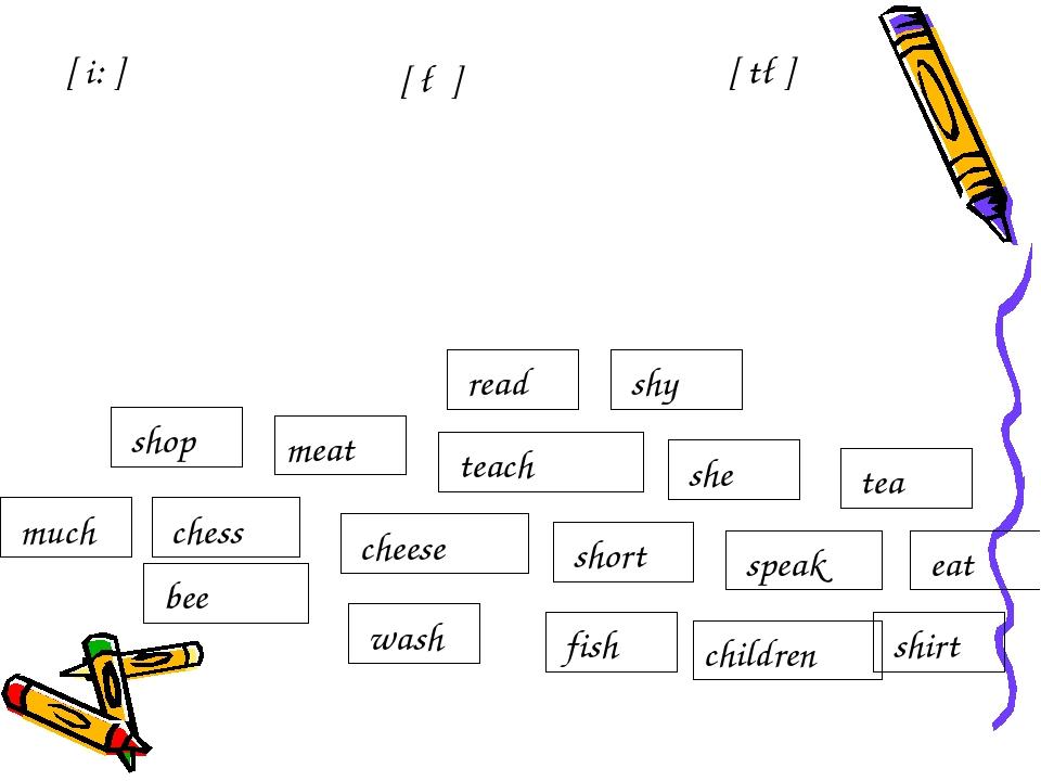 [ t∫] [ i: ] [ ∫ ] meat children wash short speak eat she tea shop shirt much...