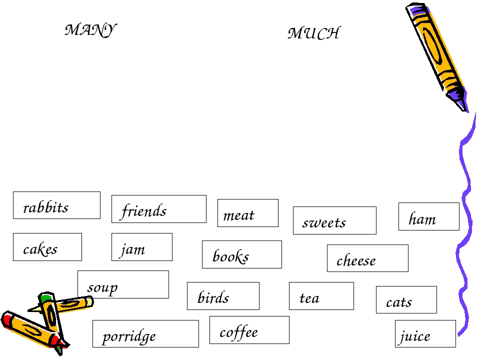MUCH MANY meat juice cats tea birds cheese books rabbits ham sweets coffee fr...