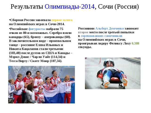 Результаты Олимпиады-2014, Сочи (Россия) Сборная России завоевала первое золо...