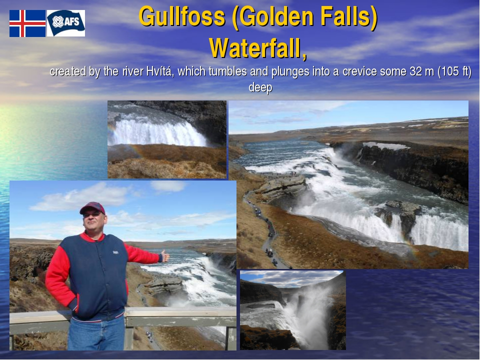 Gullfoss (Golden Falls) Waterfall, created by the river Hvítá, which tumbles...