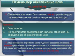 Причины: Отказ в иске По результатам рассмотрения жалобы ответчика на определ