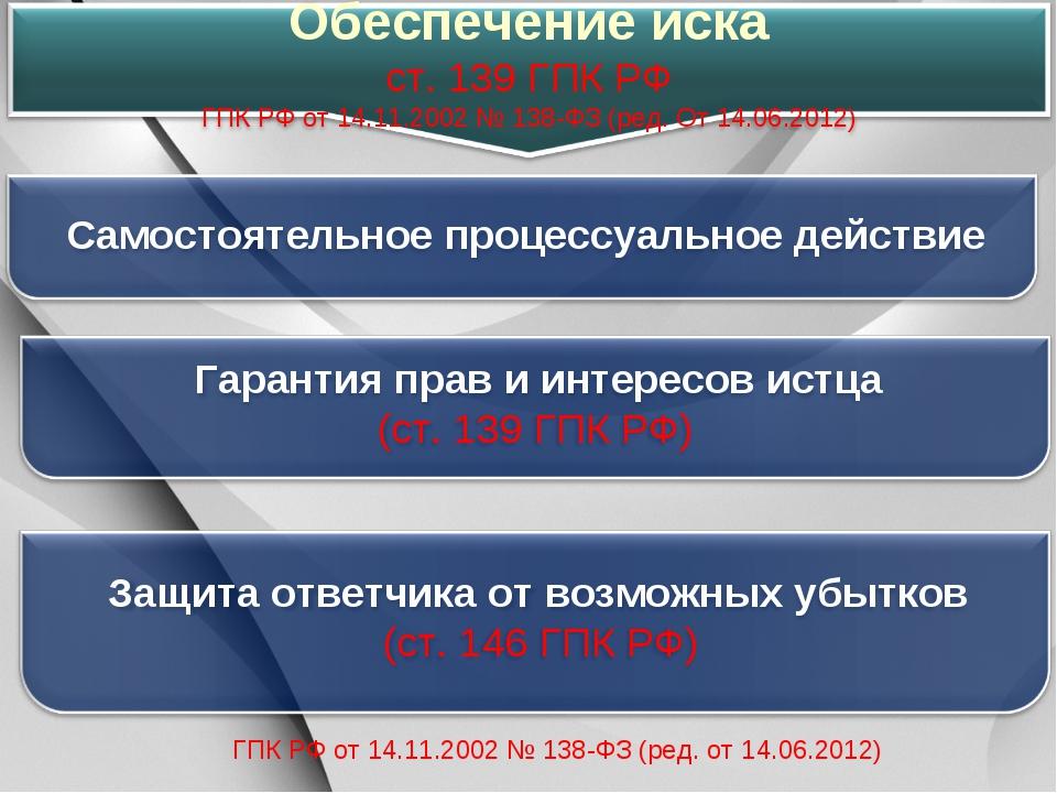 ГПК РФ от 14.11.2002 № 138-ФЗ (ред. от 14.06.2012)