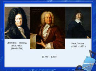 Лейбниц Готфрид Вильгельм (1646-1716) Рене Декарт (1596 –1650 ) Дании́лБерн