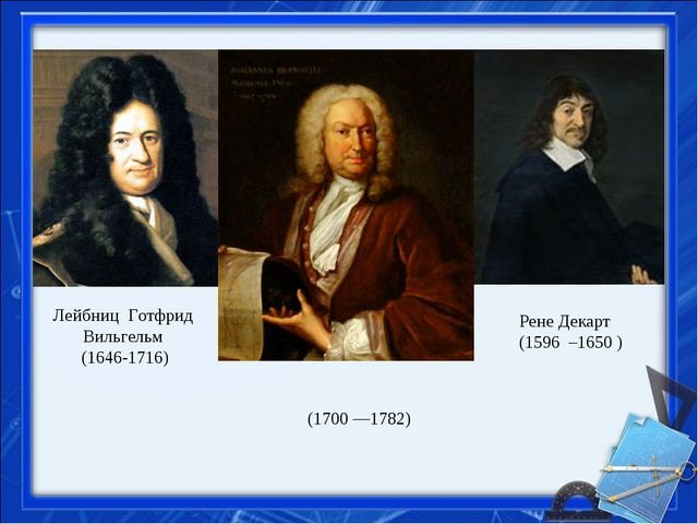 Лейбниц Готфрид Вильгельм (1646-1716) Рене Декарт (1596 –1650 ) Дании́лБерн...