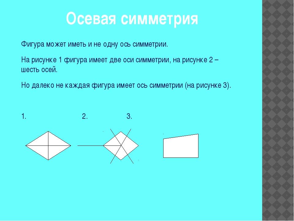 Осевая симметрия Фигура может иметь и не одну ось симметрии. На рисунке 1 фиг...