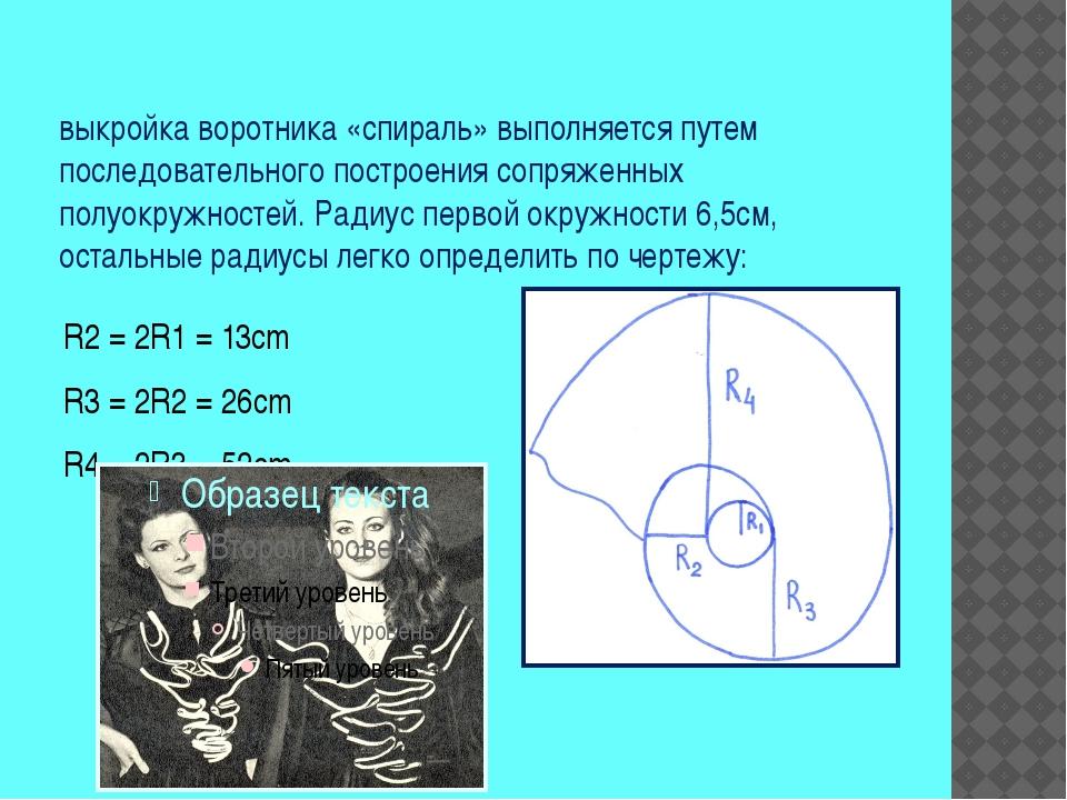 выкройка воротника «спираль» выполняется путем последовательного построения с...