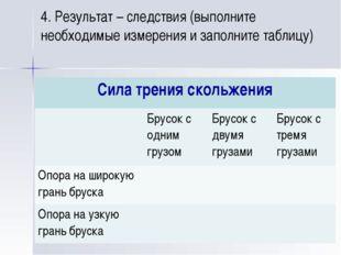 4. Результат – следствия (выполните необходимые измерения и заполните таблицу