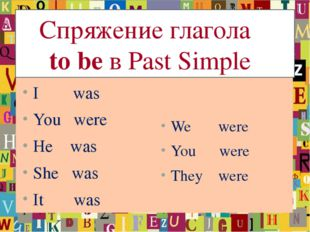 Спряжение глагола to be в Past Simple I was You were He was She was It was W