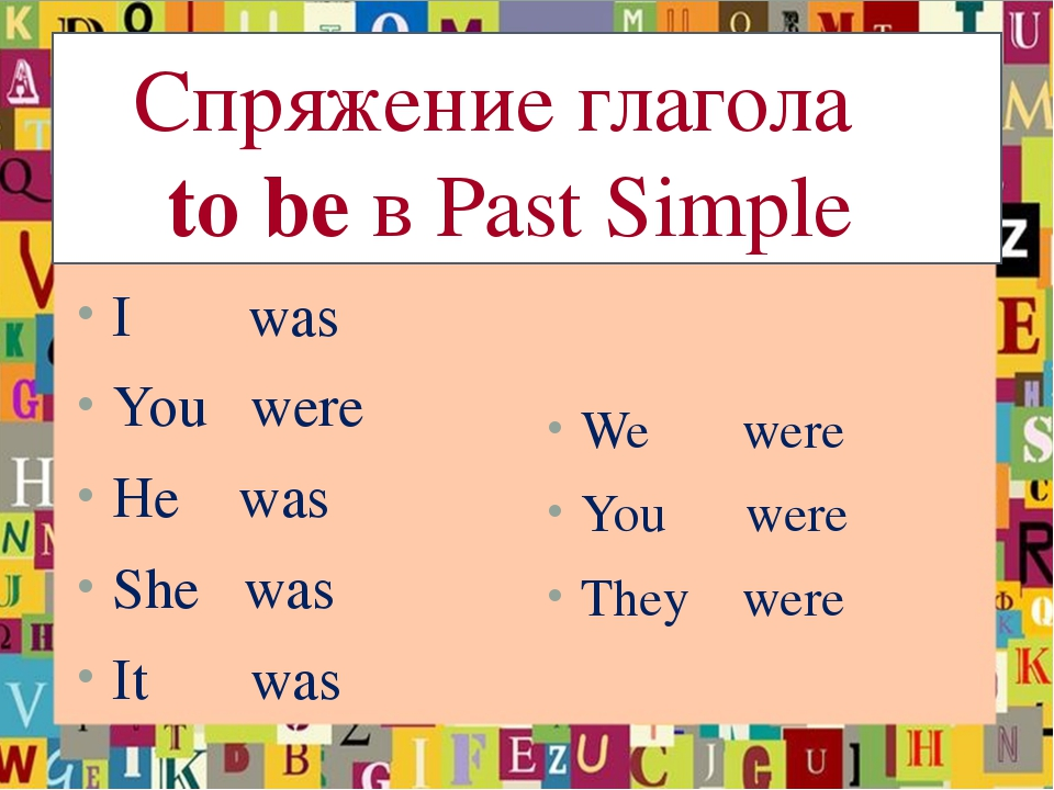 Спряжение глагола to be в Past Simple I was You were He was She was It was W...