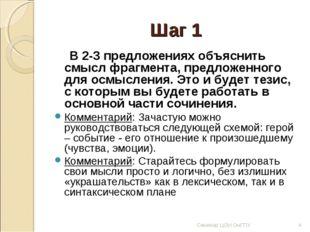 Шаг 1 В 2-3 предложениях объяснить смысл фрагмента, предложенного для осмысле