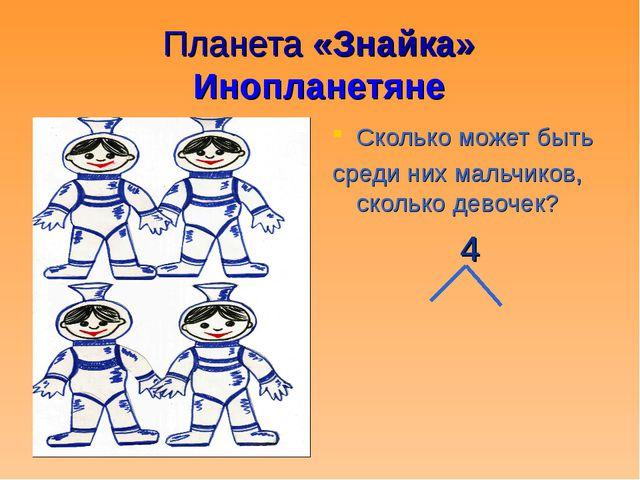 Планета «Знайка» Инопланетяне Сколько может быть среди них мальчиков, сколько...