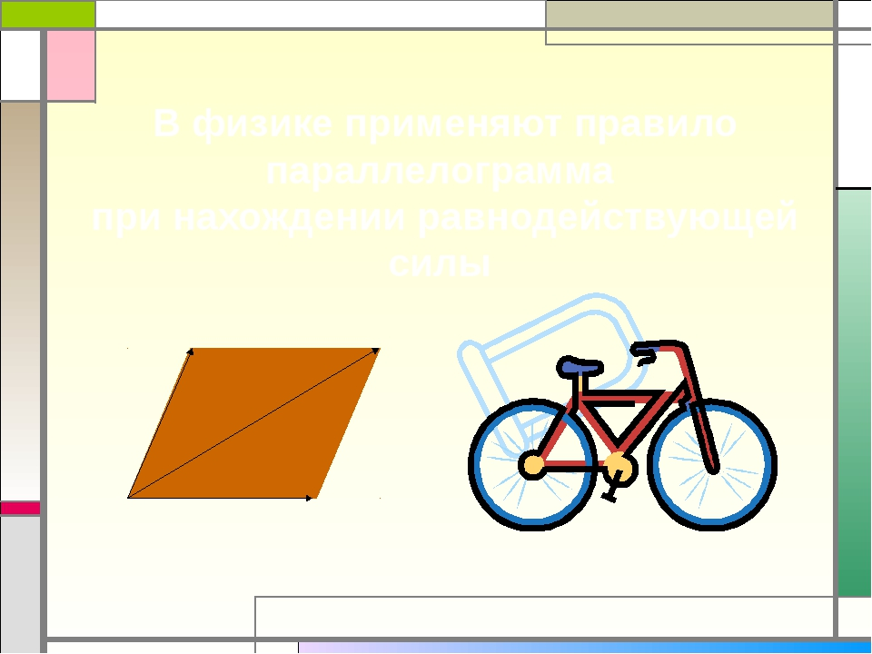 В физике применяют правило параллелограмма при нахождении равнодействующей с...
