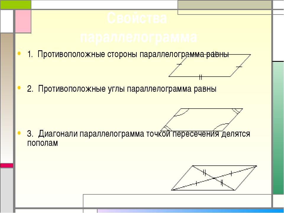 1. Противоположные стороны параллелограмма равны 2. Противоположные углы пар...