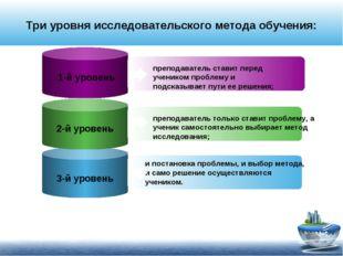 Три уровня исследовательского метода обучения: 1-й уровень преподаватель став