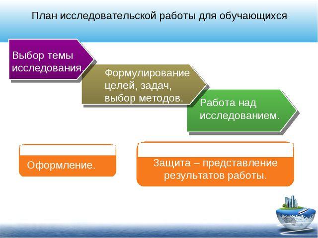 План исследовательской работы для обучающихся Выбор темы исследования. Формул...