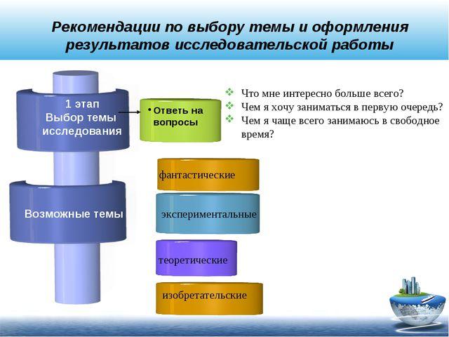 Рекомендации по выбору темы и оформления результатов исследовательской работы...