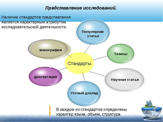 Представление исследований. Стандарты Наличие стандартов представления являе...