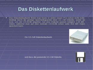Das Diskettenlaufwerk Das Diskettenlaufwerk findet man heute in vielen neuen