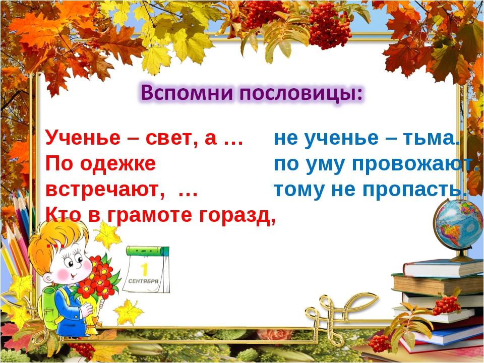Ученье – свет, а … По одежке встречают, … Кто в грамоте горазд, … не ученье –...