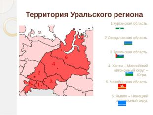 Территория Уральского региона 1.Курганская область. 2.Свердловская область. 3