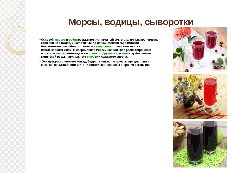Морсы, водицы, сыворотки Основой морсов и водиц всегда являлся ягодный сок, в...