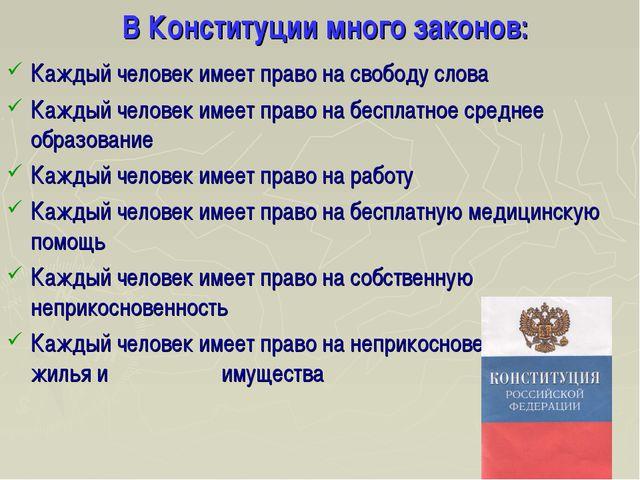 В Конституции много законов: Каждый человек имеет право на свободу слова Каж...