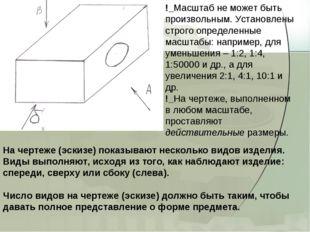 На чертеже (эскизе) показывают несколько видов изделия. Виды выполняют, исход
