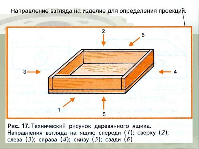 Направление взгляда на изделие для определения проекций.