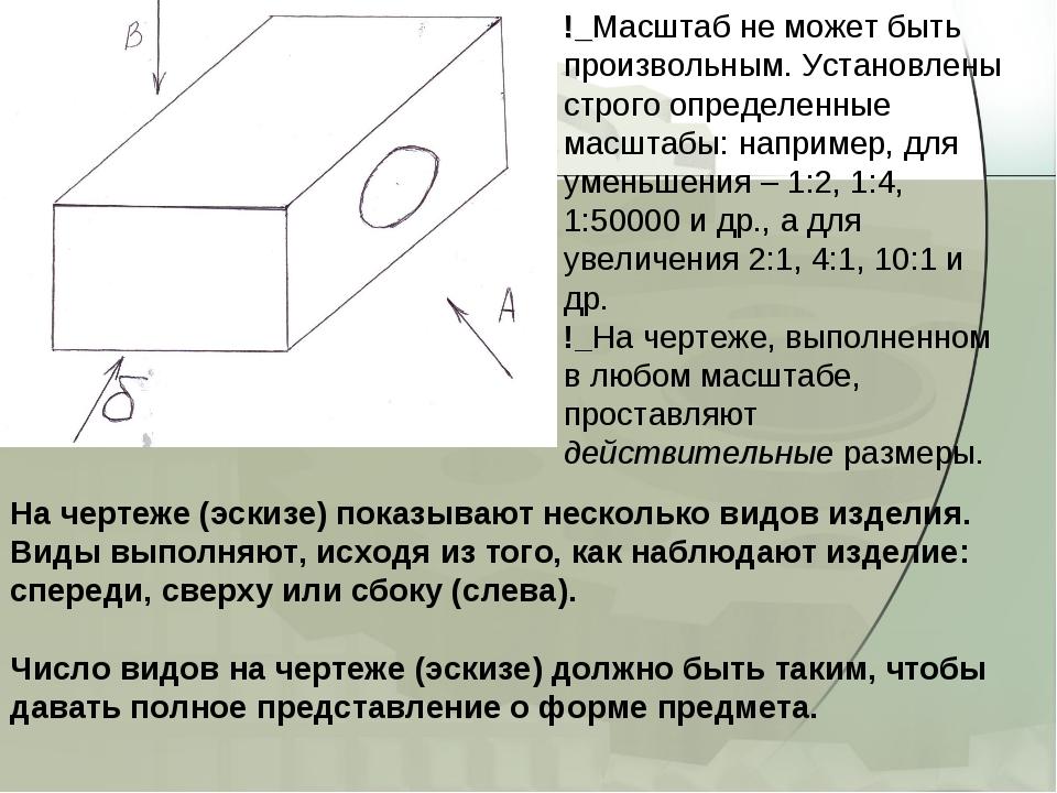 На чертеже (эскизе) показывают несколько видов изделия. Виды выполняют, исход...