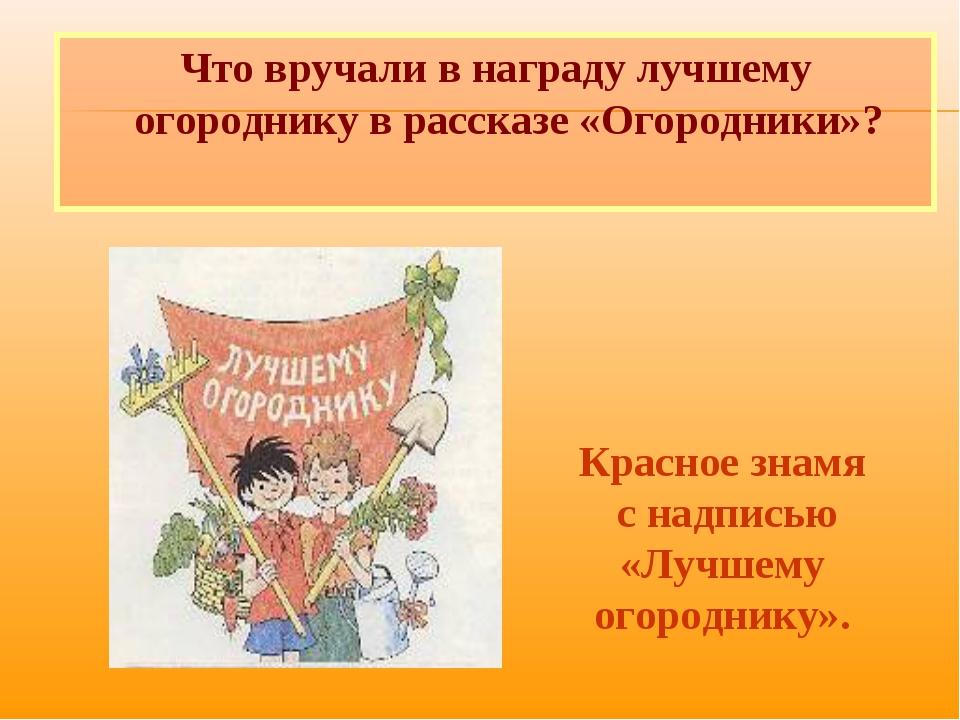 Что вручали в награду лучшему огороднику в рассказе «Огородники»? Красное зна...