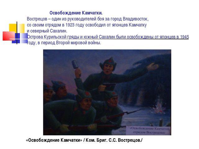 Освобождение Камчатки. Вострецов – один из руководителей боя за город Владив...