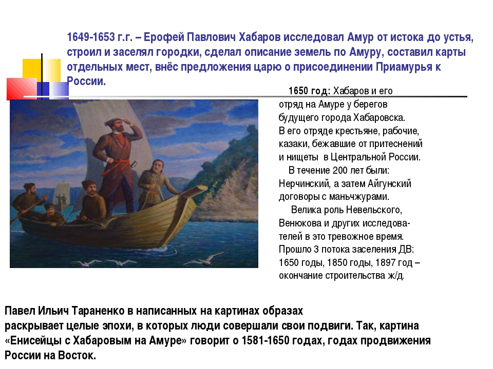 1649-1653 г.г. – Ерофей Павлович Хабаров исследовал Амур от истока до устья,...