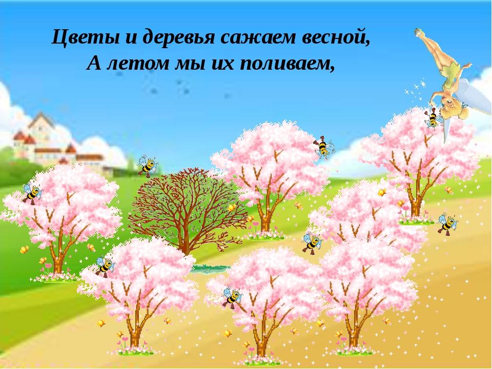 Цветы и деревья сажаем весной, А летом мы их поливаем,