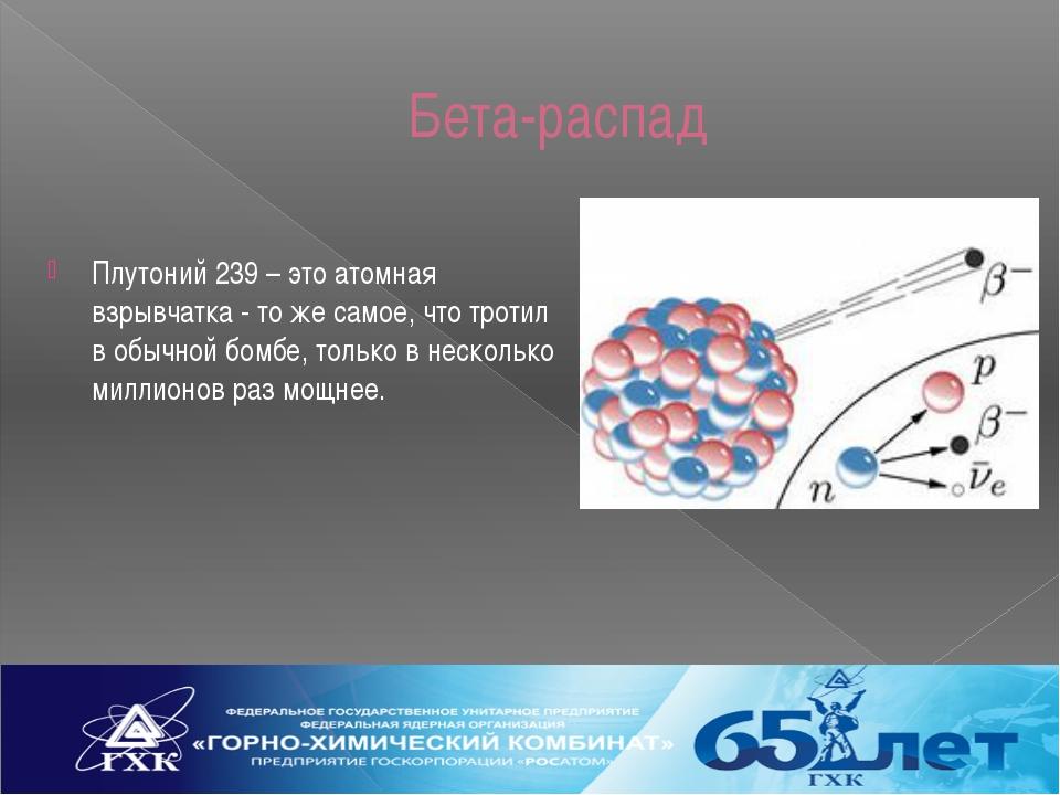 Бета-распад Плутоний 239 – это атомная взрывчатка - то же самое, что тротил в...