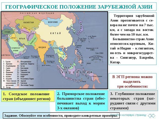 ГЕОГРАФИЧЕСКОЕ ПОЛОЖЕНИЕ ЗАРУБЕЖНОЙ АЗИИ Территория зарубежной Азии протягива...