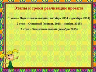 Этапы и сроки реализации проекта 1 этап – Подготовительный (сентябрь 2014
