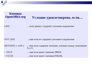 Команда OpenOffice.org Условие удовлетворено, если… LIKE... поле данных сод