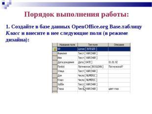 Порядок выполнения работы: 1. Создайте в базе данных OpenOffice.org Base.табл
