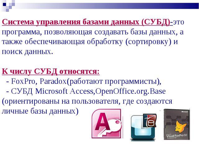 Система управления базами данных (СУБД)-это программа, позволяющая создавать...