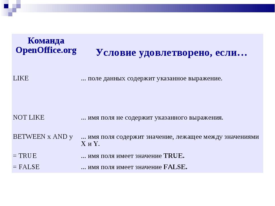 Команда OpenOffice.org Условие удовлетворено, если… LIKE... поле данных сод...