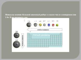 В строении атомов металлов – на последнем электронном уровне находится малое