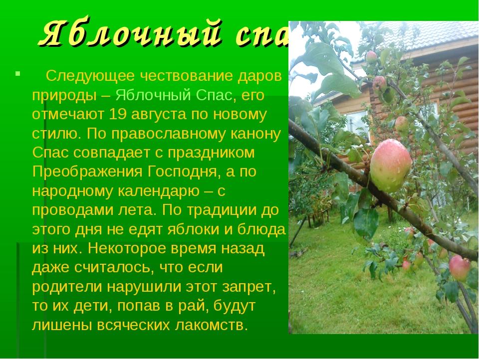Яблочный спас Следующее чествование даров природы – Яблочный Спас, его отмеча...
