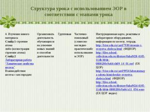 Структура урока с использованием ЭОР в соответствии с этапами урока 4. Изучен