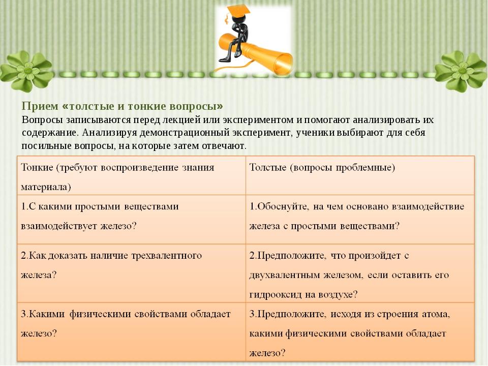 Прием «толстые и тонкие вопросы» Вопросы записываются перед лекцией или экспе...