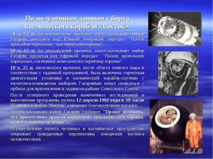 По полученным данным с борта космического корабля «Восток». 9 ч. 52 м. по мос